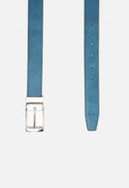 POLO - Lancaster leather reversible belt - tan & blue