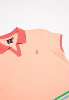 POLO - Girls Jordan striped golfer - peach