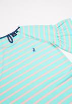 POLO - Girls Nicola striped dress - turquoise & peach