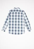 POLO - Boys blake long sleeve checked shirt - navy & white