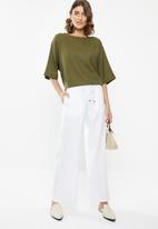 edit - Linen blend trousers - white