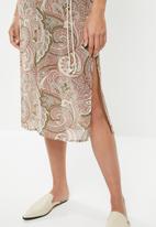 edit - Sleeveless slip dress with belt - multi