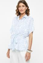 edit - Short sleeve button through - blue & white