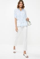 edit - Short sleeve button through - blue & white