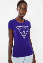 GUESS - Short sleeve caviar triangle tee - blue