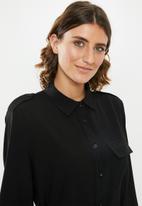 edit - Utility shirt dress - black