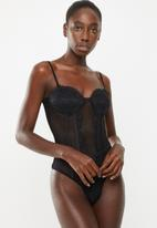 Missguided - Mesh panelled lace cup bodysuit - black