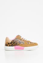 POP CANDY - Girls animal print sneaker - brown & pink