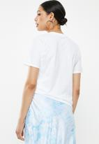 Missguided - Mood face graphic T-shirt - white