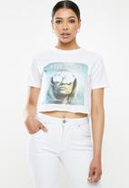 Missguided - Milano woman crop graphic T-shirt - white