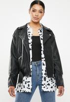 Missguided - Boyfriend biker jacket - black