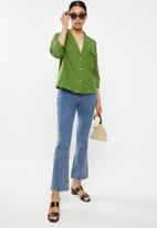 Missguided - Co ord linen tortoise shell shirt - green