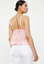 Missguided - Plunge peplum broderie anglais cami - pink