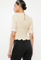Missguided - Poplin shirred puff short sleeve top - beige