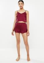 Missguided - Satin cami short set - burgundy