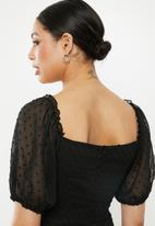 Missguided - Dobby milkmaid skater dress - black