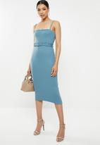 Missguided - Rib belted cami midi dress - blue