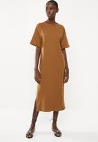 Superbalist - T-shirt dress with boxy sleeve - brown