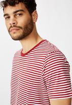 Cotton On - Stripe Tbar crew tee - white & red