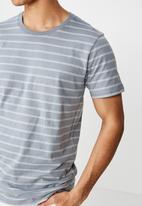 Cotton On - Triple stripe Tbar crew tee - grey & white