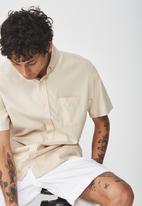 Cotton On - Vintage prep short sleeve shirt - beige