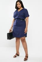 edit Plus - Belted shirt dress - navy