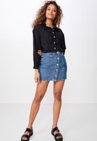 Cotton On - Ashley cropped pintuck shirt  - black