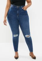 New Look - X lift shape ripped skinny jeans - blue