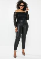 Missguided - Curve bardot lace long sleeve top - black