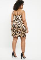 Missguided - Plus size leopard V-neck cami dress - multi
