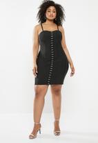 Missguided - Plus bandage hook eye mini dress - black