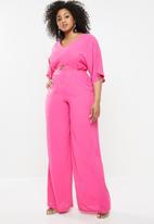 Missguided - Curve cut out wide leg jumpsuit - pink