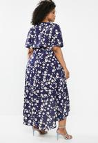 Missguided - Curve high low wrap dress - navy