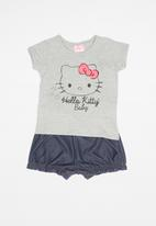 Hello Kitty - Elastane jersey top and denim shorts set - grey & blue