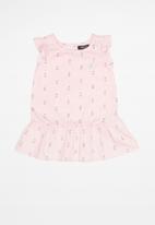 POLO - Olivia printed blouse - pink & navy