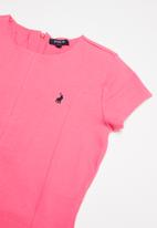 POLO - Tania short sleeve panelled dress - pink