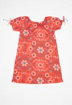 UP Baby - Single jersey dress - coral & blue