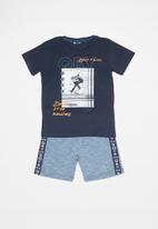 Quimby - Single jersey T-shirt and sweat bermuda set - blue
