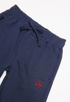 Quimby - Single jersey T-shirt and sweat bermuda set - red & navy