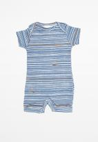 UP Baby - Soft jersey romper - blue & white