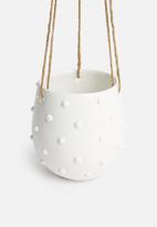 Urchin Art - Poppy hanging succulent planter - white