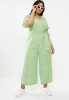 Glamorous - Curve wrap jumpsuit- green