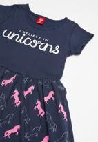 Bee Loop - Single jersey unicorn dress - navy & pink