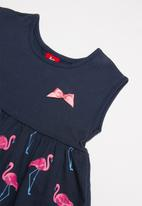 Bee Loop - Single jersey flamingo printed dress - navy & pink