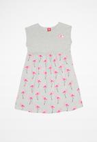 Bee Loop - Single jersey dress - grey & pink