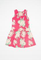 Bee Loop - Single jersey dress - pink & green