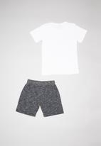Quimby - Set - single jersey T-shirt and sweat bermuda - white & charcoal