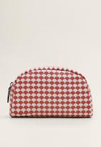 MANGO - Geometric print cosmetic bag - red & white