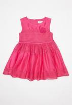 Babaluno - Bee organza stripe dress with 3D chiffon motif flo - pink