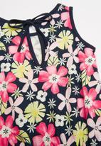 Bee Loop - Single jersey floral romper - navy